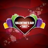 Valentinsgrußtagesherzformverkaufsaufkleber oder -aufkleber auf abstraktem rotem Hintergrund mit Unschärfe beleuchtet Vektorverka Lizenzfreies Stockbild