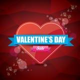 Valentinsgrußtagesherzformverkaufsaufkleber oder -aufkleber auf abstraktem rotem Hintergrund mit Unschärfe beleuchtet Vektorverka Stockfotos