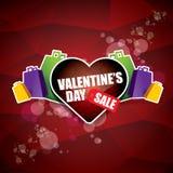 Valentinsgrußtagesherzformverkaufsaufkleber oder -aufkleber auf abstraktem rotem Hintergrund mit Unschärfe beleuchtet Vektorverka Lizenzfreie Stockbilder