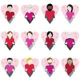 Valentinsgrußtagesherzikonensatz lizenzfreie stockbilder