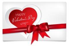 Valentinsgrußtageshintergrund mit abstraktem Herzen und Bogen stock abbildung