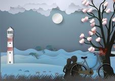 Valentinsgrußtageshintergrund mit Mann und verliebte Frau haben Fahrrad und einen Baum, der aus Herzen und Meer mit Delphinen her Stockbild
