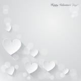 Valentinsgrußtageshintergrund mit Papierherzen. Stockfotografie
