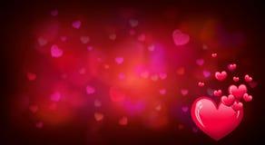 Valentinsgrußtageshintergrund mit roten Herzformen Stockfoto