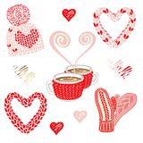 Valentinsgrußtagesillustration mit warmem gestricktem Zubehör: Hut mit pom pom, Handschuhen und Haarnetzschal Zwei Kakao oder Kaf stockfoto