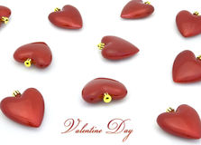 Valentinsgrußtagesinnerdekor auf Weiß Lizenzfreies Stockfoto