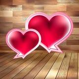 Valentinsgrußtageskarte auf Holz. ENV 10 Stockfotografie