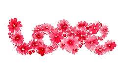 Valentinsgrußtageskarte mit Blumenaufschrift des Wort ` Liebe ` sammelte von den Blumen und von den Beeren Romantisches Letering  Stockfotos