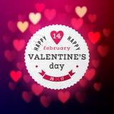 Valentinsgrußtageskarte mit bokeh Lichtern Stockfotos