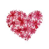 Valentinsgrußtageskarte mit einer Blumenform des Herzens Herz sammelte von den Blumen und von Beeren, gemalt im Aquarell, lokalis Stockfotografie