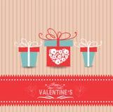 Valentinsgrußtageskarte mit Geschenken Stockbilder