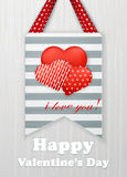 Valentinsgrußtageskarte mit Herzen und Wörtern der Liebe Lizenzfreie Stockfotos
