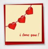 Valentinsgrußtageskarte mit Herzen und Wörtern der Liebe auf weißem Hintergrund Stockfotos