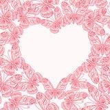 Valentinsgrußtageskarte mit Herzen von den Schmetterlingen Nahtloses p lizenzfreie abbildung