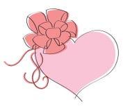 Valentinsgrußtageskarte mit Liebe. Rosafarbenes Inneres mit Bogen Stockbild