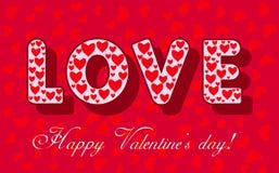 Valentinsgrußtageskarte mit LIEBES-Wort Stockfotografie