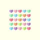 Valentinsgrußtageskarte mit mehrfarbigen Herzen Stockfotos