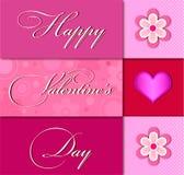 Valentinsgrußtageskarte mit rosa Herzen und schönen Blumen Stockbild