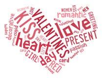 Valentinsgrußtageskonzept im Worttag-cloud lizenzfreie abbildung