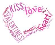 Valentinsgrußtageskonzept im Worttag-cloud stock abbildung