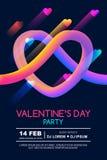 Valentinsgrußtagesparteiplakatschablone Flüssiges Herz der abstrakten bunten Steigung 3d auf schwarzem Hintergrund stock abbildung
