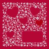 Valentinsgrußtagespostkarte, weiße Verzierung auf rotem Hintergrund, Vektor vektor abbildung