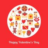 Valentinsgrußtagesrundes Konzept mit Liebesikonen in der flachen Art vektor abbildung