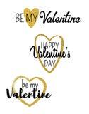 Valentinsgrußtagestypografische Vektoraufkleber mit Goldfunkelnherzen lizenzfreie abbildung