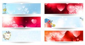 Valentinsgrußtagesweb-Fahnenset Stockfotos