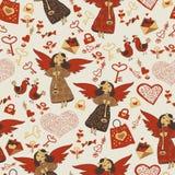 Valentinsgrußtapete mit netten Engeln Stockfotografie