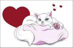 Valentinsgrußweißkatze Lizenzfreie Stockfotografie