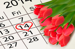 Valentinsgruß-Tageskalender. Am 14. Februar vom Heilig-Tal Lizenzfreie Stockbilder