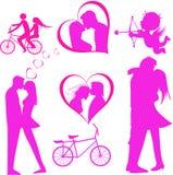 Valentinsgruß-Tagesschöner Hintergrund mit Verzierungen und Herzen. Lizenzfreies Stockbild