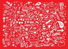Valentinsgrußgekritzelsatz, Liebeselement des Handabgehobenen betrages Stockfotos