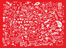 Valentinsgrußgekritzelsatz, Liebeselement des Handabgehobenen betrages Lizenzfreie Stockbilder