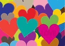 Valentinsgrußhintergrund mit Patchworkherzen Stockfotografie