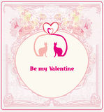 Valentinsgrußkarte mit Katzen in der Liebe Lizenzfreie Stockbilder