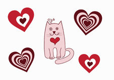 Valentinsgrußkarten-Katzevogel Stockfoto