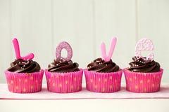 Valentinsgrußkleine kuchen Stockbild