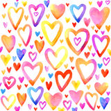 Valentinsgrußtagesaquarellherz Regenbogenherzsatz Lizenzfreies Stockfoto