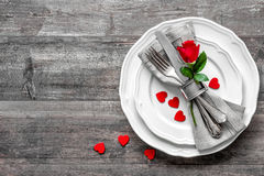 Valentinsgrußtagestabellengedeck Stockfotografie