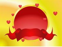 Valentinsgrußtaste mit Fahne Stockfotografie