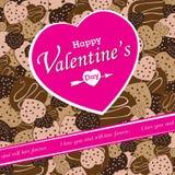 Valentinstag auf buntem Herzschokoladen-Parteihintergrund Vektor-Herzschokolade auf buntem Hintergrund Lizenzfreies Stockbild