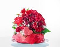Valentinstag-Blumen-Anordnung Stockfoto
