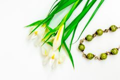 Valentinstag, Blumen für Damen und Schmuck stockfoto