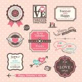 Valentinstag-Elementaufkleber und -rahmen Weinlese-Art Stockbilder