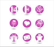 Valentinstag am 14. Februar Ikone Stockbilder