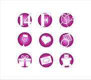 Valentinstag am 14. Februar Ikone Stockbild