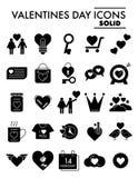 Valentinstag Glyph-Ikonensatz, Romanze Symbole Sammlung, Vektorskizzen, Logoillustrationen, Liebeszeichen fest stock abbildung
