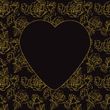 Valentinstag. Goldrosen und -herzen. Vektorillustration stock abbildung